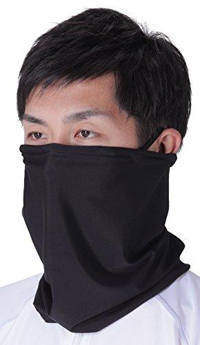 PONTAPES(ポンタペス) ネックカバー UVカット マスク ネックガード 夏用 UPF50+ PAA-850 ブラック フェイスガード フェイスカバー スポーツマスク 冷感マスク ランニング マスク ウォーキングブラック 黒色