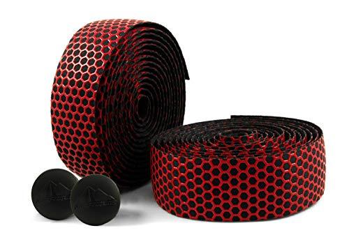 MARQUE Hex Bicycle Handlebar Tape - Road Bike Handle bar Tape 2PCS per Set (Red)