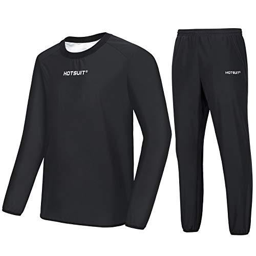 HOTSUIT Sauna Sportanzug Herren Saunaanzüge Abnehmen Schwitzanzug Fitness Lang Sport Shirt Trainingshose, Schwarz, XL