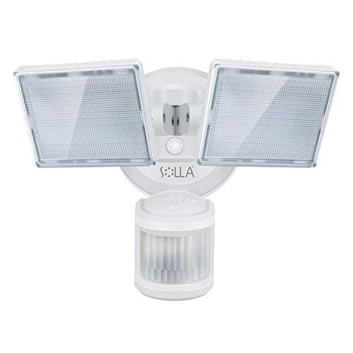 SOLLA led strahler mit bewegungsmelder, 34 W 3000LM Superhell LED-Sicherheitslicht Außen, IP65 Wasserdicht PIR Außenstrahler,5000K 2 Köpfe LED Flutlicht für Garage, Garten, Veranda, Auffahrt