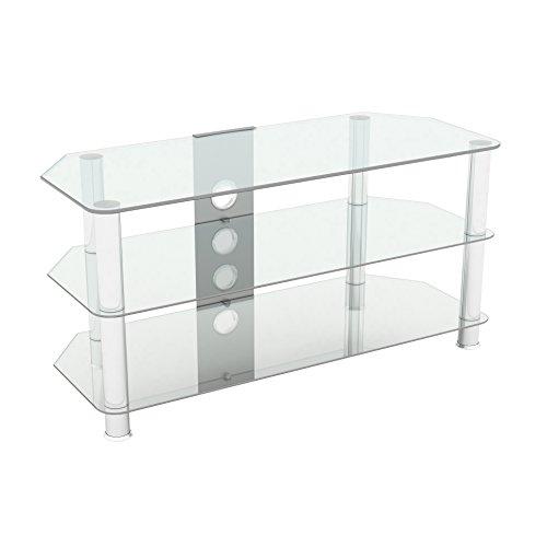 Supporto in vetro nero lucido per TV LCD, al plasma e curvo 100 cm Clear Glass with Cable Management