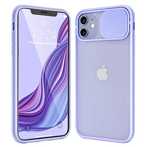 Funda para iPhone 12/12 Pro/12 Pro MAX Carcasa Mate Protección de La Cámara Parachoques Suave A Prueba de Golpes de TPU Ultra Fina Transparente Back Cover,Púrpura,12 Mini