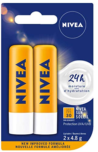 NIVEA Sun Caring Lip Balm Sticks with SPF 30, Duo Pack (2 x 4.8 g)(Imported from Canada)