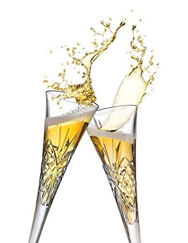 Godinger Champagne Trumpet Flutes Glasses, European Made Crystal - Dublin, Set of 2, 6oz