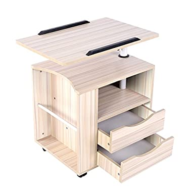 Emall Life Upgraded Functional Swivel Bedside Table Adjustable Wooden Nightstand with Drawers, Wheels and Open Shelf (White Maple)