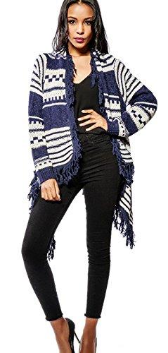 Dames gebreide jas poncho met Mexico Ethno patroon en franjes lang in drie