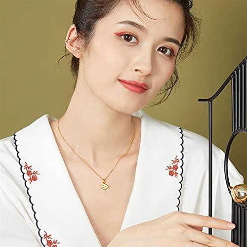 999 Puro Oro Amarillo De 24 Quilates Colgante Collar, Aniversario Joyas para Esposa Regalos para Madre/Novia (Color : Pendant, Tamaño : 18K Gold Chian)