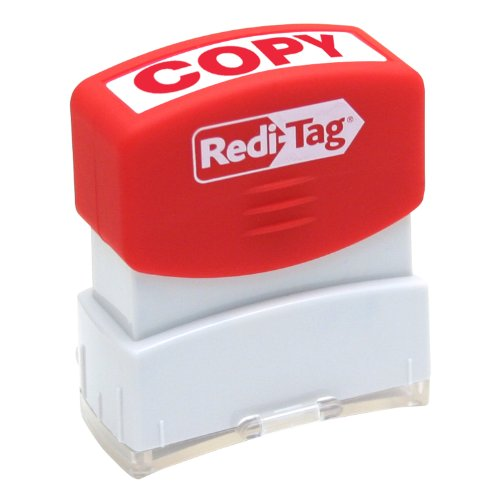 Redi-Tag Pre-Inked Copy Stamp, Stamp Impression Size: 9/16 x 1-11/16 Inches, Red (97008)