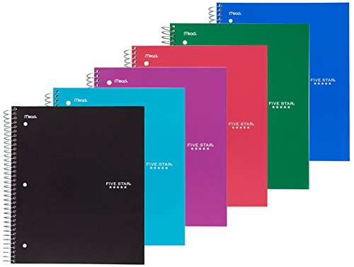 Five Star Spiral Notebook, 3 Subject, 150 College Ruled Sheets, Assorted Colors, 6 PACK