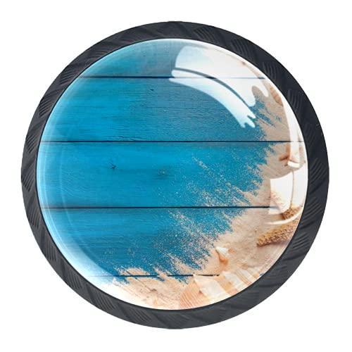 LXYDD Manijas para cajones Perillas para gabinetes Perillas Redondas Paquete de 4 para Armario, cajón, cómoda, cómoda, etc. Conchas de mar y Estrellas de mar una Madera Azul