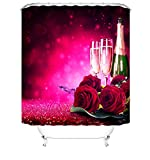 JZDH Duschvorhang für Badezimmer wasserdichte Duschvorhang, Champagner Und Rote Rosen Muster Duschvorhang Mit 12 Haken, 180 X 180 cm, Polyester