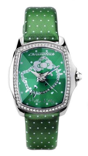 Hello Kitty CHRONOTECH for Hello Kitty - Reloj analógico de mujer de cuarzo con correa de piel verde - sumergible a 30 metros
