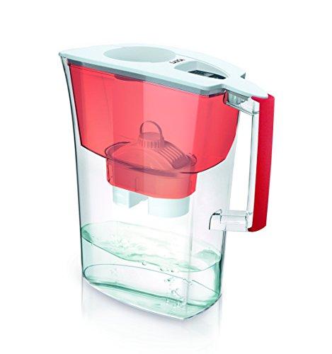 Jarra para filtrar el agua del grifo y mejorar su sabor- Laica PRIME LINE J51-BA color rojo capacidad 3 litros, incluye 1 filtro bi-flux que reduce la cal y el cloro y dura 150 litros o 1 mes.