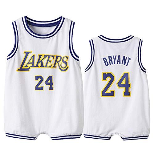 Baby's Jungen Basketball Jersey Anzug Lakers James # 23 Säuglinge und Kleinkinder Sommerweste Kits Mode Atmungsaktive Jungen Training Shorts Sets-White-90(cm)