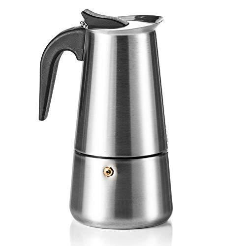 Coffee Fox® Espressokocher aus Edelstahl - Kaffeebereiter Kaffeekocher Espresso-Kanne (9 Tassen - 450 ml)