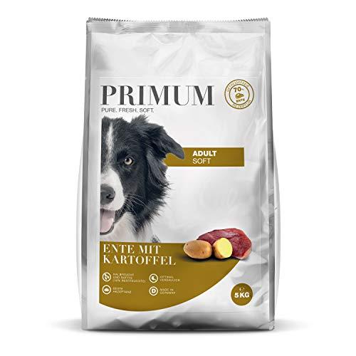 Primum | 5 kg | Halbfeuchtes Trockenfutter für Hunde | getreidefrei | Soft Ente mit Kartoffel | Extra viel Fleisch | Optimal verdaulich | Herstellung in Deutschland
