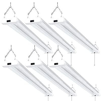 Sunco Lighting 6 Pack LED Utility Shop Light, 4 FT, Linkable Integrated Fixture, 40W=260W, 4000K Cool White, 4100 LM, Frosted Lens, Surface/Suspension Mount, Pull Chain, Garage - ETL, Energy Star
