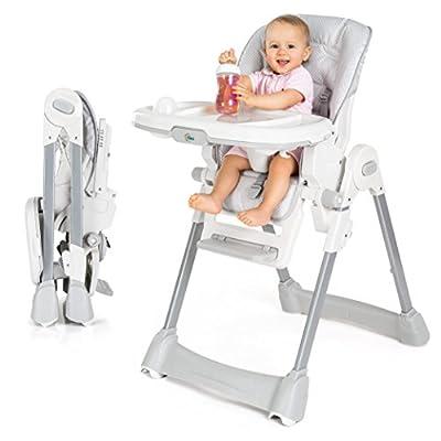 Fillikid Baby Trona - Silla de bebé desde el nacimiento, asiento reclinable, cojin acolchado, cinturón, mesa con bandeja extraíble - altura ajustable y plegable | Gris Blanco