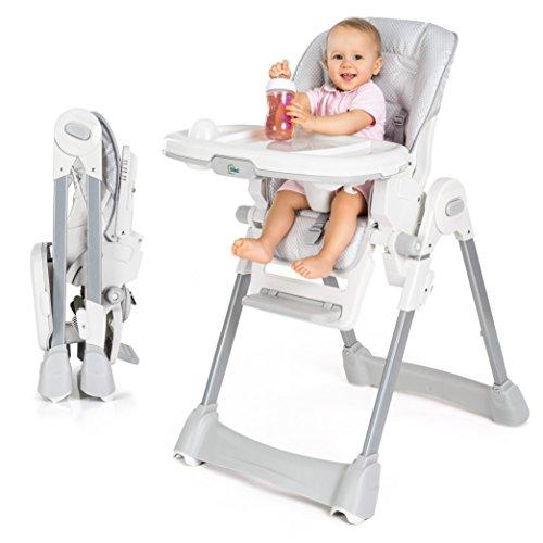 Fillikid Baby Trona para bebés - asiento reclinable, cojin acolchado, cinturón, mesa con bandeja extraíble - altura ajustable y plegable | Gris Blanco