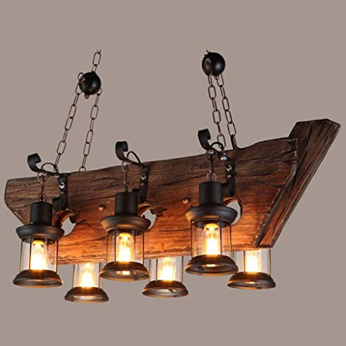 YUEXIN Retro Vintage Wooden Pendant Lamp,Industrial Chandelier Hanging Light, Linear Island Pendant Lights,6-Heads Lighting Pendant Light, Ceiling Lights, Lofts, Bars, Restaurant Lights