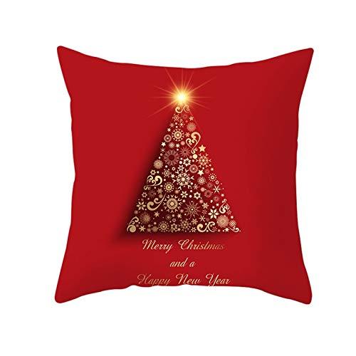 Socoz Juego de 2 fundas de cojín de Navidad, color azul, 45 x 45 cm, de poliéster rojo