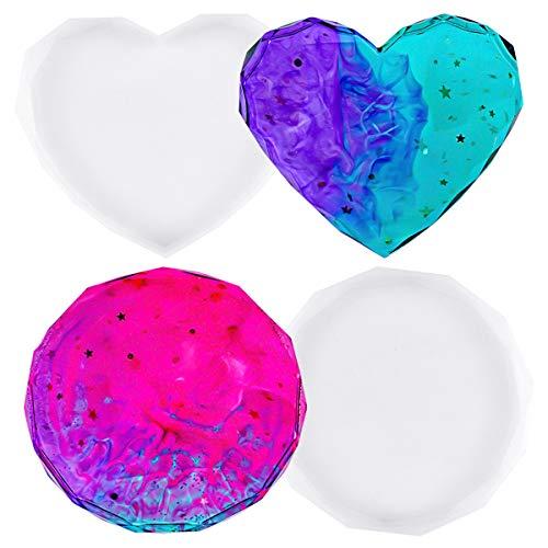 Chstarina 2 Piezas Molde De Silicona Para Posavasos Moldes de Resina Epoxi Molde Corazón de diamante 3D Molde DIY Moldes de Epoxi Resina para Manualidades Decoración del Hogar