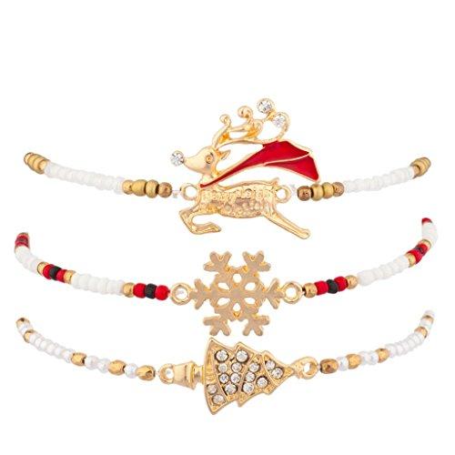 Lux Navajo Frozen Holiday Multi Bracelet Set Reindeer Snowflake Xmas Christmas Tree Charms