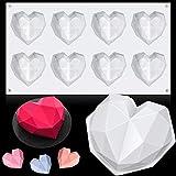 JOERRES Molde de silicona con forma de corazón y mousse, 2 unidades, diseño romántico en 3D, ideal para hacer cupcakes, chocolates, postres, para fiestas, bodas, compromisos, San Valentín