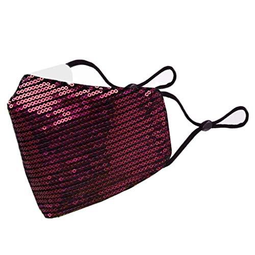 Supertong Einstellbar Mundschutz Mode Pailletten Baumwolle Stoff Face Cover Waschbar Wiederverwendbar Gesichtsschutz Outdoor Radfahren Motorrad Staubdicht Winddicht Face Shield (Weinrot)