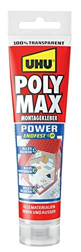 UHU Poly Max Glasklar Express, Transparenter Montageklebstoff und Dichtmittel mit hoher Endfestigkeit, Tube, 115 g