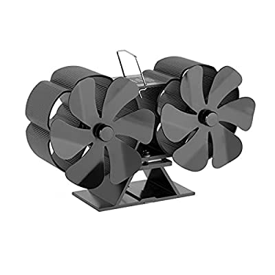 SEEROOTOYS Thermoelectric Fan 12-Blade Heat Powered Wood Stove Twin Fan for Wood/Log Burner for Rooms Fireplace Warmth Winter,Quiet Home Fireplace Fan Heat Distribution Black by SEEROOTOYS