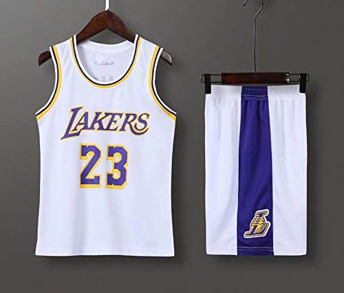 Jersey Men's, NBA Los Angeles Lakers # 23 Lebron James - Niño Uniformes De Baloncesto para Adultos Clásicos Camisetas Deportivas Sin Mangas Y Chaleco Cómodo Tops Set,Blanco,L(Child) 135~145CM