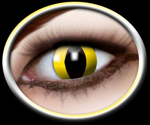 Eyecatcher Color Fun - Farbige Kontaktlinsen - Yellow Cat -Gelbe Katze - 1 Paar - Ideal für Karneval, Fasching, Halloween & Party