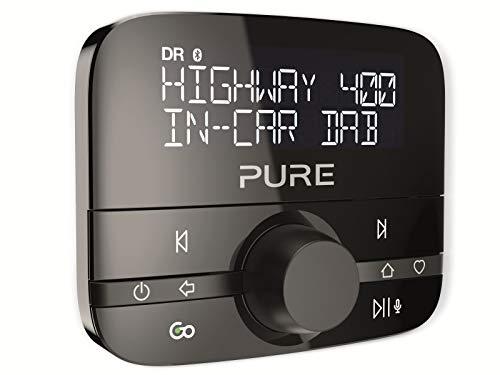 Pure Highway 400 V2 In-Car-Audioadapter (DAB/DAB+ Digitalradio mit Bluetooth, Go Button, Siri und Google Assitant, Spotify und 20 Senderspeicherplätze), Schwarz