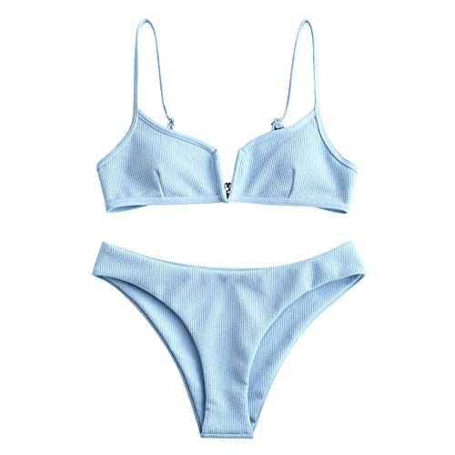 ZAFUL Frauen V verdrahtet gepolsterte gerippte High Cut Cami Bikini Set Zweiteiliger Badeanzug (L, HIMMELBLAU)