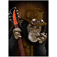 キャンバスにプリントスモーキングモンキーギターを弾くキャンバス絵画ポスターとプリントウォールアート写真リビングルーム家の装飾60x90cmフレームなし