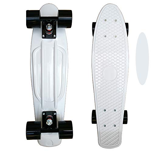 FGKING Complete Skateboards Standard Skateboards, Highly Flexible Plastic Cruiser Board Mini 22 Inch Skateboards with High Rebound PU Wheels for Beginners Kids Teens,White