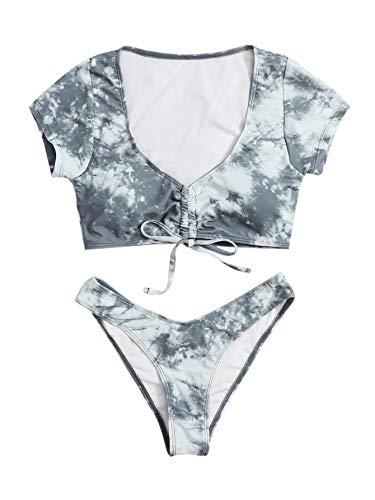 SweatyRocks Damen Sexy Batik-Bikini, Badeanzug, Kordelzug, Knoten, Badebekleidung - mehrfarbig - Small
