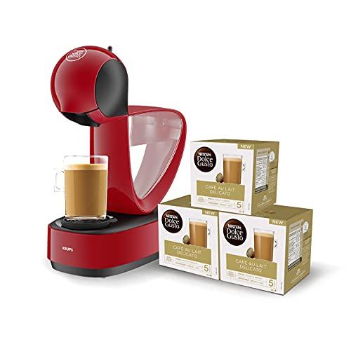 Nescafé Dolce Gusto Infinissima KP1705 Krups Cafetera de cápsulas con 15 bares de presión, capacidad 1.2L, bebidas frías o calientes, modo Eco, pack con 48 cápsulas, color rojo