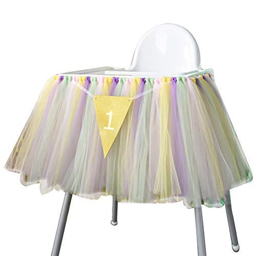 Demarkt 1 jaar oud kind verjaardagsfeest eetkamerstoel Rock Tutu hoge stoel Rock Baby kinderstoel decoratie voor 1e verjaardag party accessoires