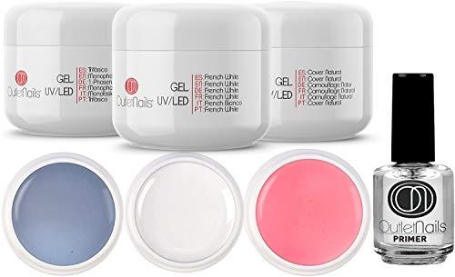Kit de UV Gel 3 Geles de 15ml + Primer 15ml para uñas de gel / 1 x UV/LED Monophase + 1 x UV/LED Gel French Blanco + 1 Gel UV/LED Cover Natural + 1 Primer 15ml