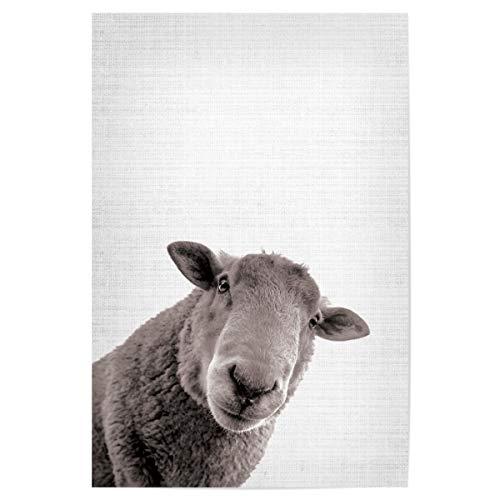 artboxONE Poster 45x30 cm Für Kinder Lamm drucken - Bild Lamm-Druck Schaf-Wand-Kunst Bauernhof-Tierdruck