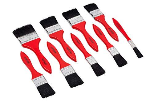 Werkzeyt Pinsel-Set 9-teilig - Für wasserbasierte Farben & Lacke - Bestehend aus Flachpinsel mit 13 - 63 mm Breite - Schwarze Kunststoffborsten - Borstenstärke 4 / Malerpinsel / B21622
