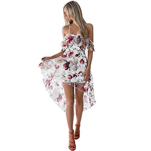 Janly Clearance Sale Vestido para mujer, vestido maxi de verano para mujer, con hombros descubiertos, bohemio, flor para dama de playa (blanco-M)