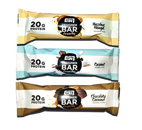 ESN Designer Bar Crunchy - Mix Box (Chocolate Caramel, Coconut, Hazelnut Nougat) 12 x 60g