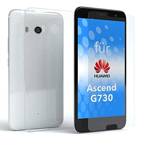 EAZY CASE Silikonhülle und Panzerglas Set kompatibel mit Huawei Ascend G730 I Bildschirmschutzglas, Panzerglas 0,3 mm 9H Festigkeit, Schutzhülle Ultra dünn, Silikon Hülle, Backcover, Transparent/Kristallklar