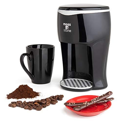 Mini Drip Coffee Maker with Mug, Small Coffee Pot With Coffee Cup, Mini Coffee Maker, One Cup Coffee Maker By Moss & Stone (1 Drip & 4oz Mug)