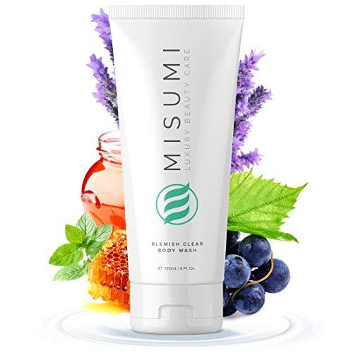 Misumi Acne Body Wash 120ml (4oz) - Keratosis Pilaris Treatment, Body & Back Acne Treatment - Salicylic Acid, Glycolic Acid AHA Body Wash for Men & Women Bacne