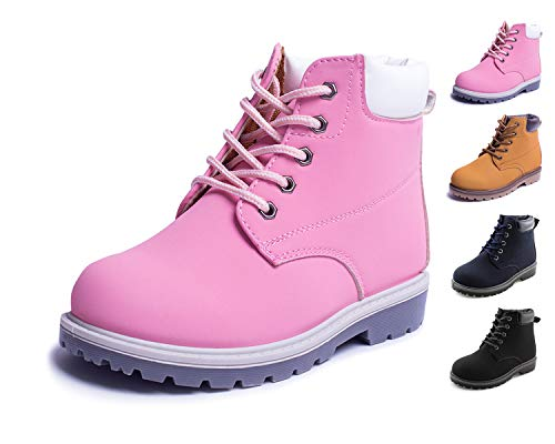 JABASIC Kids Lace-Up Ankle Boots Boy Girl Waterproof Martin Shoes (12 M US Little Kid, Pink)