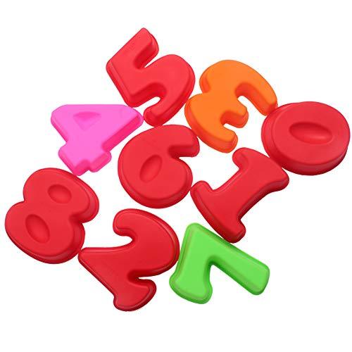 Molde de silicona para hornear tartas de 0 a 8 números para cumpleaños, boda, aniversario, tamaño mediano, 6 3/4 pulgadas, juego de 9
